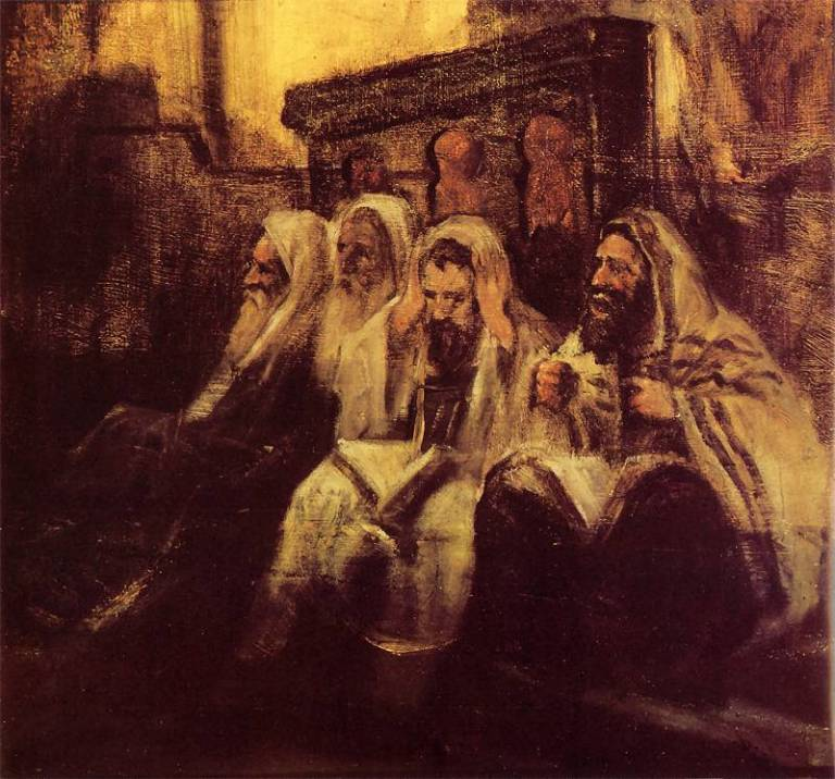 Maurycy Gottlieb: Żydzi w synagodze. Ok. 1878