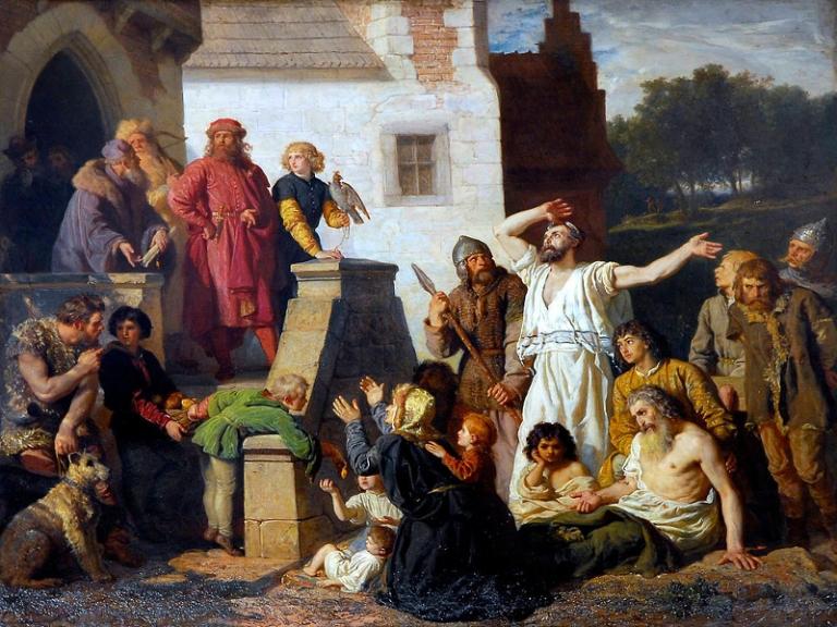 Wojciech Gerson: Żydzi tułający się proszą Kazimierza Wielkiego o przytułek w Polsce. 1874
