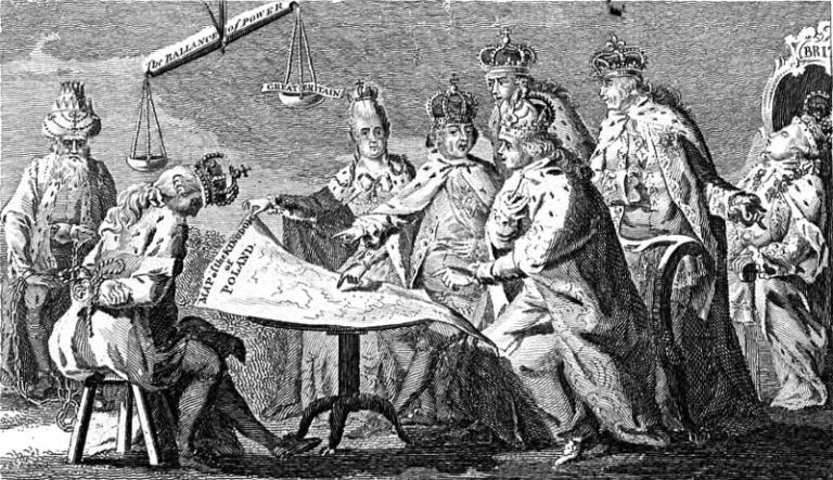 Obraz Europy w lipcu 1772, rycina brytyjska. Wikimedia Commons