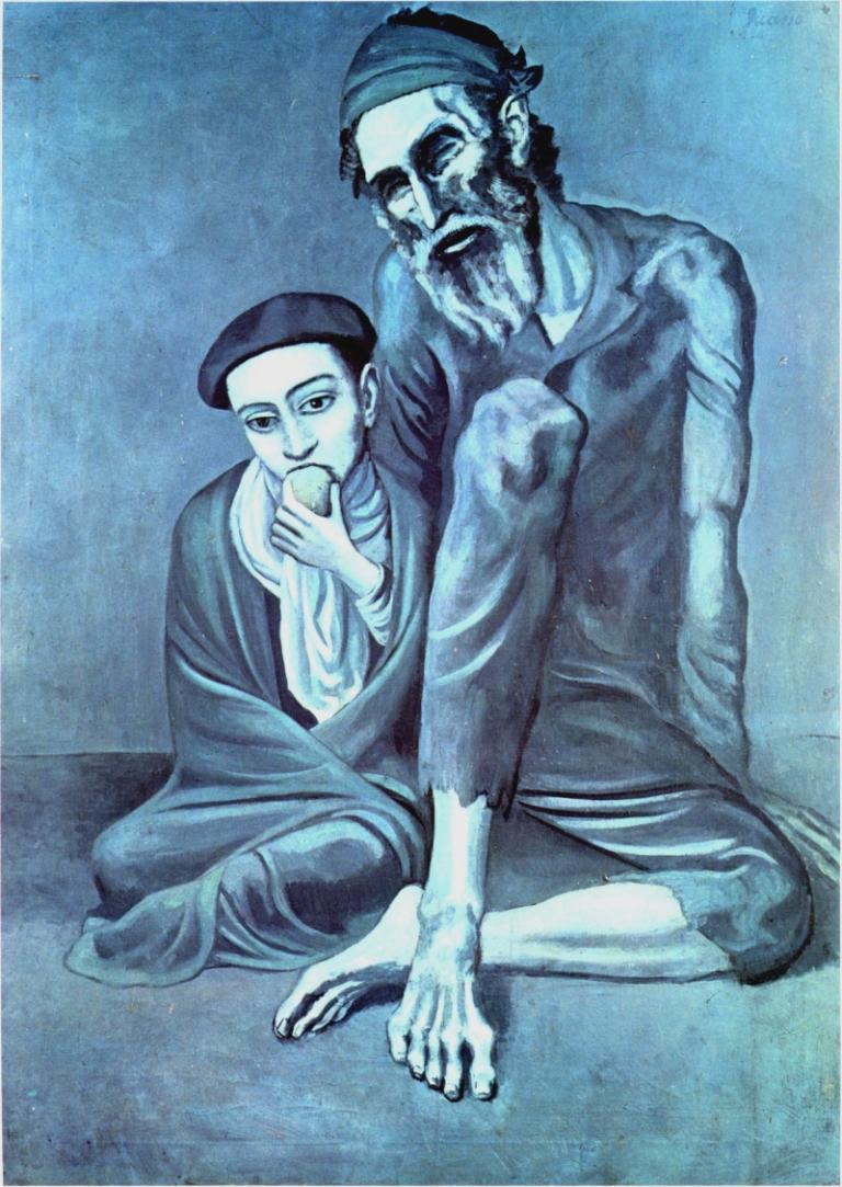 Picasso - Stary Żyd z chłopcem. 1903. Olej na płótnie. 125X92 cm. Muzeum Puszkina w Moskwie