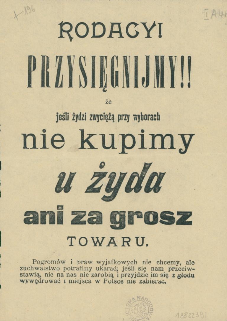 Ulotka propagandowa. 1907